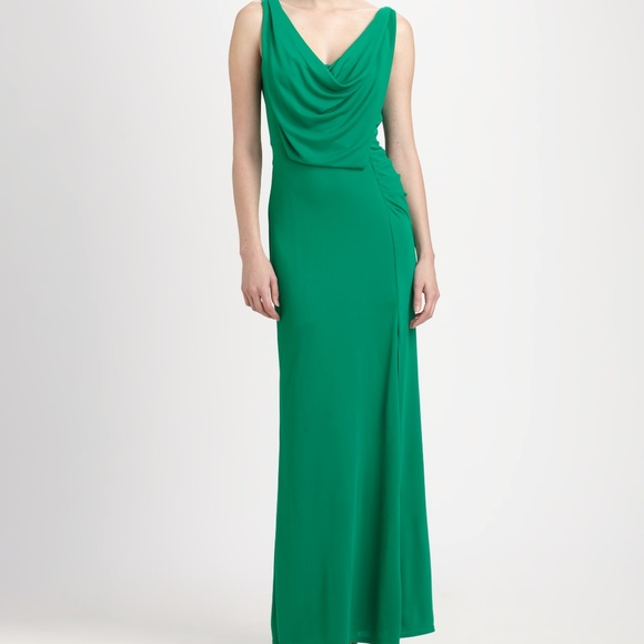 BCBG Dresses | Lena Draped Gown Light Kelly Green | Poshmark